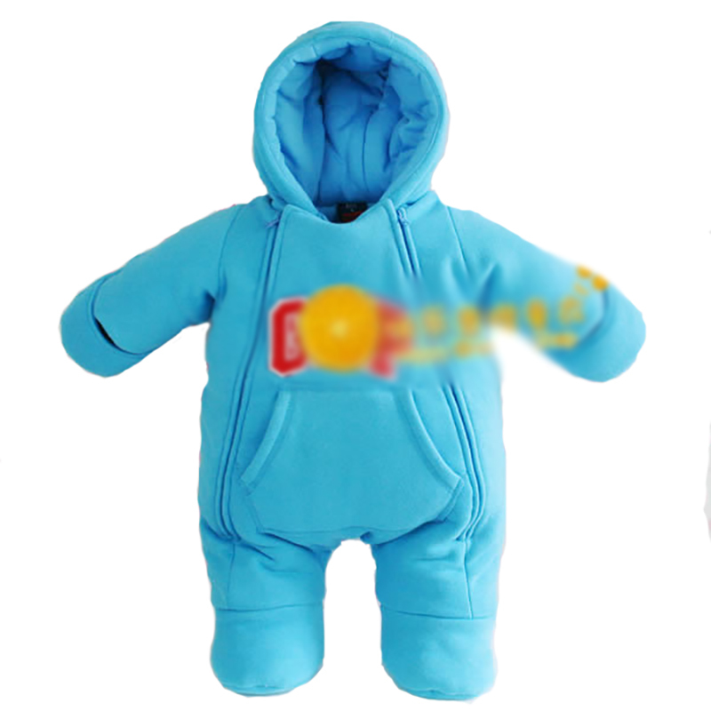 Blue velvet bag zipper foot newborn conjoined clothing newborn snowsuit baby snow clothing catsuitcoveralls for newborns  winter