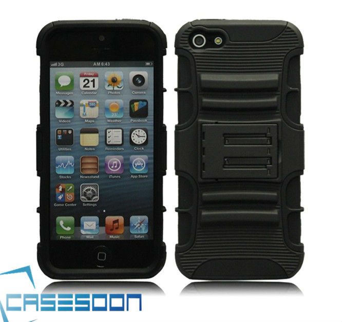 RUGGED TOUGH IMPACT CASE w/ KICKSTAND / BELT CLIP HOLSTER FOR APPLE IPHONE 5 5G