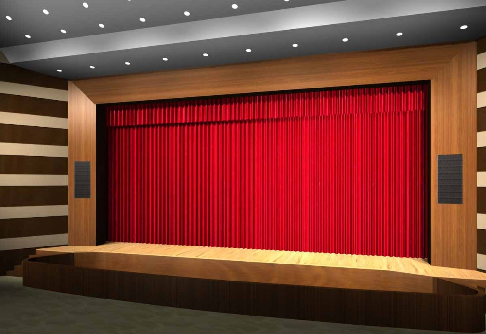 motorized stage curtain velvet fabric red color stage theater curtain