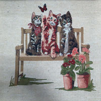 Jacquard threee cats design wall hanging gobelin tapestry fabric