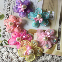 Decorative small tissue embroidery fabric flowers for hair accessories