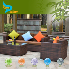 Elegant Design Europe Modern Home/Outdoor Rattan Furniture 7 Seater Sectional Sofa