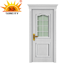 Wood half glass interior door design window made in china