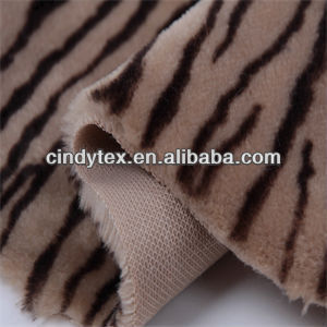 8mm tiger pattern plushed short hair 100% polyester print faux fur fabric