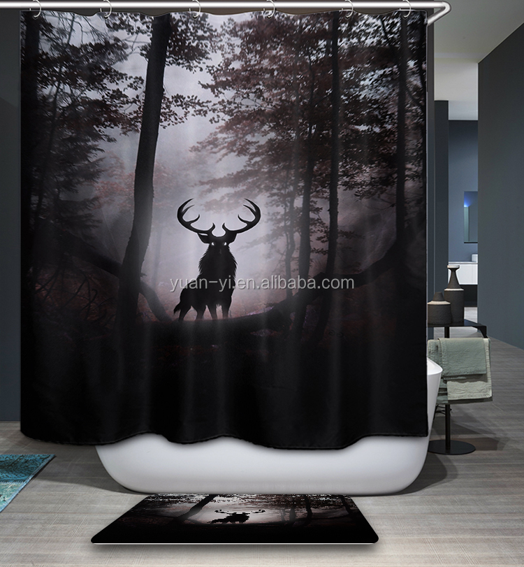 Stag Patron saint of Harry Potter Design Printed Polyester Shower Curtain