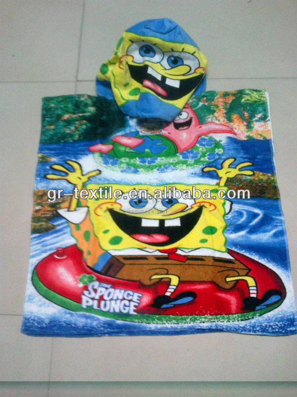 100% Cotton Reactive Printing Hooded Baby Towel Pattern,Poncho Hooded Beach Towel