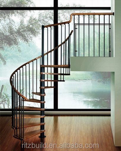 2014 hot style & fashionable& high quality indoor iron spiral stairs