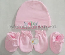 100% cotton soft feel new born baby gift set for baby hat and baby socks