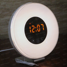 Touch Switch LED Display Wake Up Light Alarm Clock FM Radio With RGB Adjustable Color Changing Atmosphere Lamp