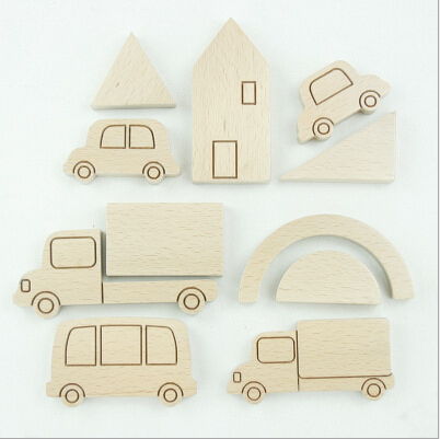car shape wood block set beech wood blocks with different car shapes wooden city house and car