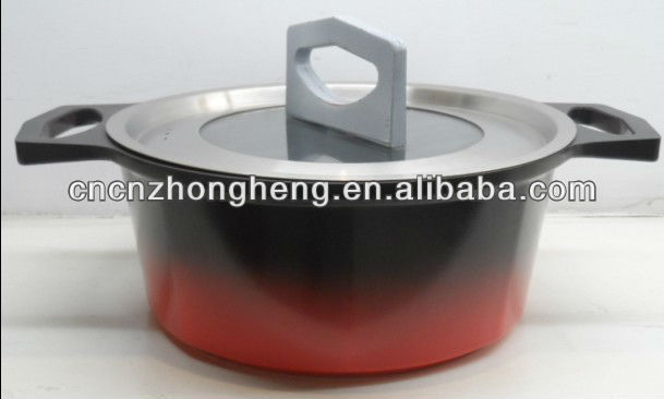 NEW! Die-Casting nonstick Aluminum Color Changing Casserole with eight corner body