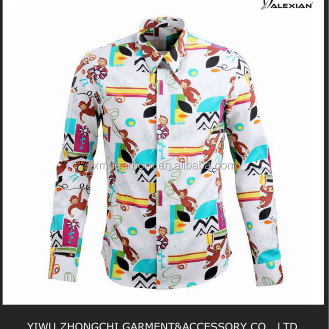 printed mens long sleeve casual shirt