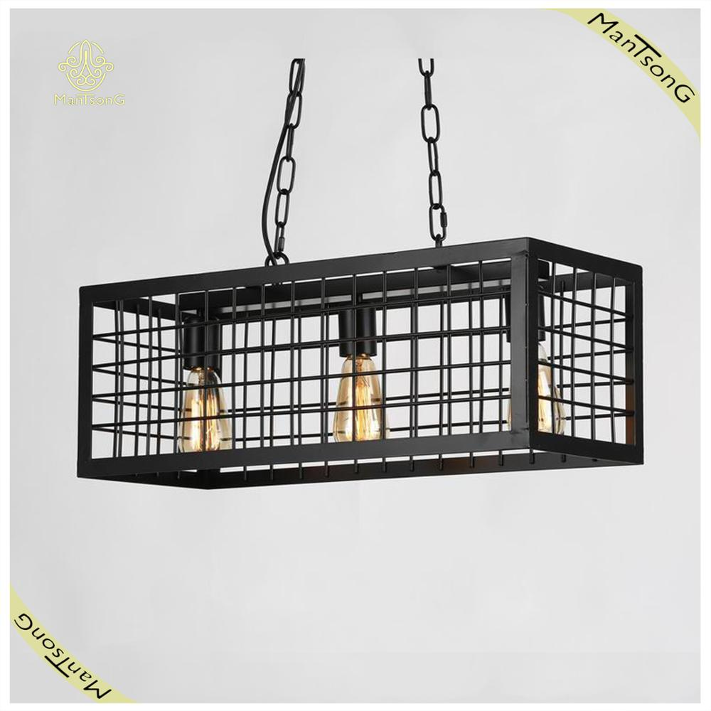 Industrial Style Big Cage Lamp Iron Vintage Pendant Lamp E27 with 3 Lights Chain Chandelier