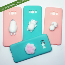 2017 novelty stress reduce poke squishy phone case, protective tpu back cover case animal bear squishy for samsung galaxy s8