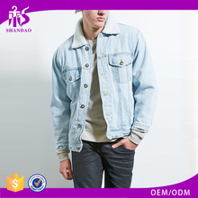 Guangzhou Shandao Winter New Fashion Design Washing Light Blue Lamb Wool Long Sleeve Mens Denim Jacket