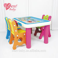 Pink legs High quality rectangle kid's plastic table and chair