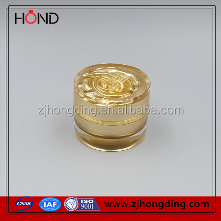 manufacture round acrylic jar/cosmetic container/yellow flower straight round cosmetic jar