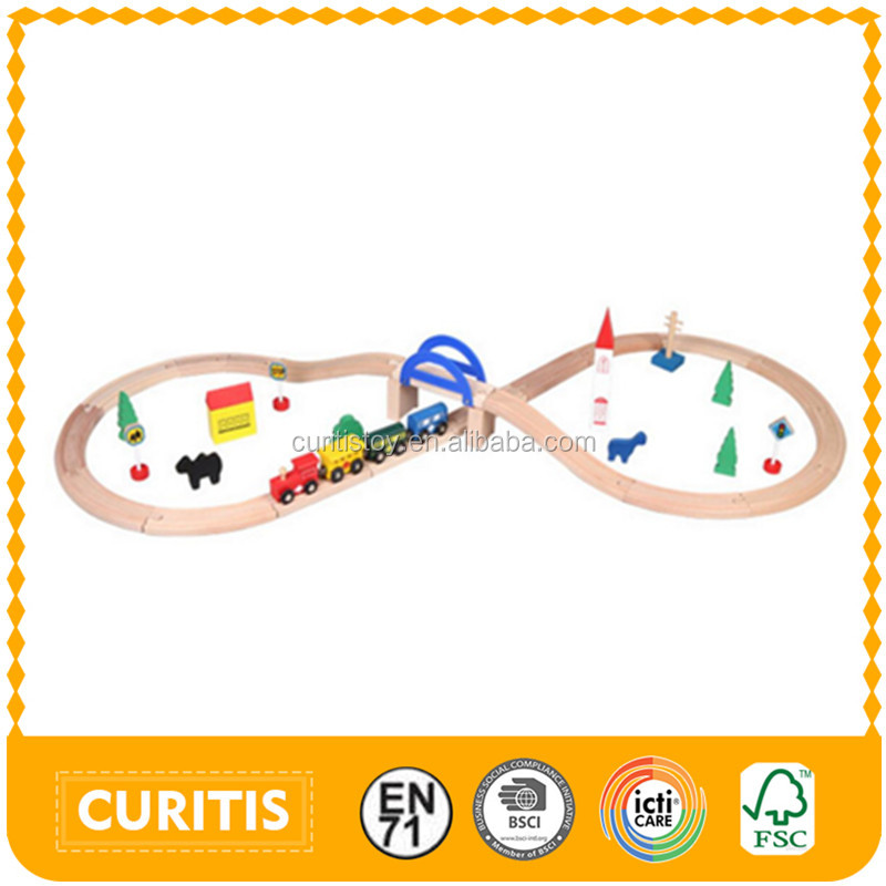 smooth ecofriendly childrens toys 39 pcs Removable wooden rail DIY educational kids toys train wood toy track railway game