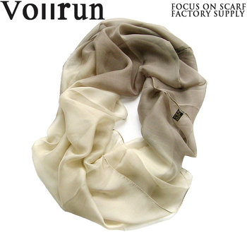 Beige Shaded Silk Shiffon Fashion Yong Tube Scarf