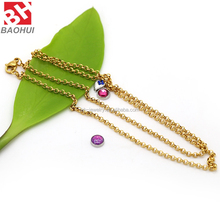 2.3MM*53CM Fashion Simple Long Gold Chain Necklace Stainless Steel DIY O Chain For Locket Pendant