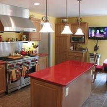 Kitchen furniture red solid surface countertops
