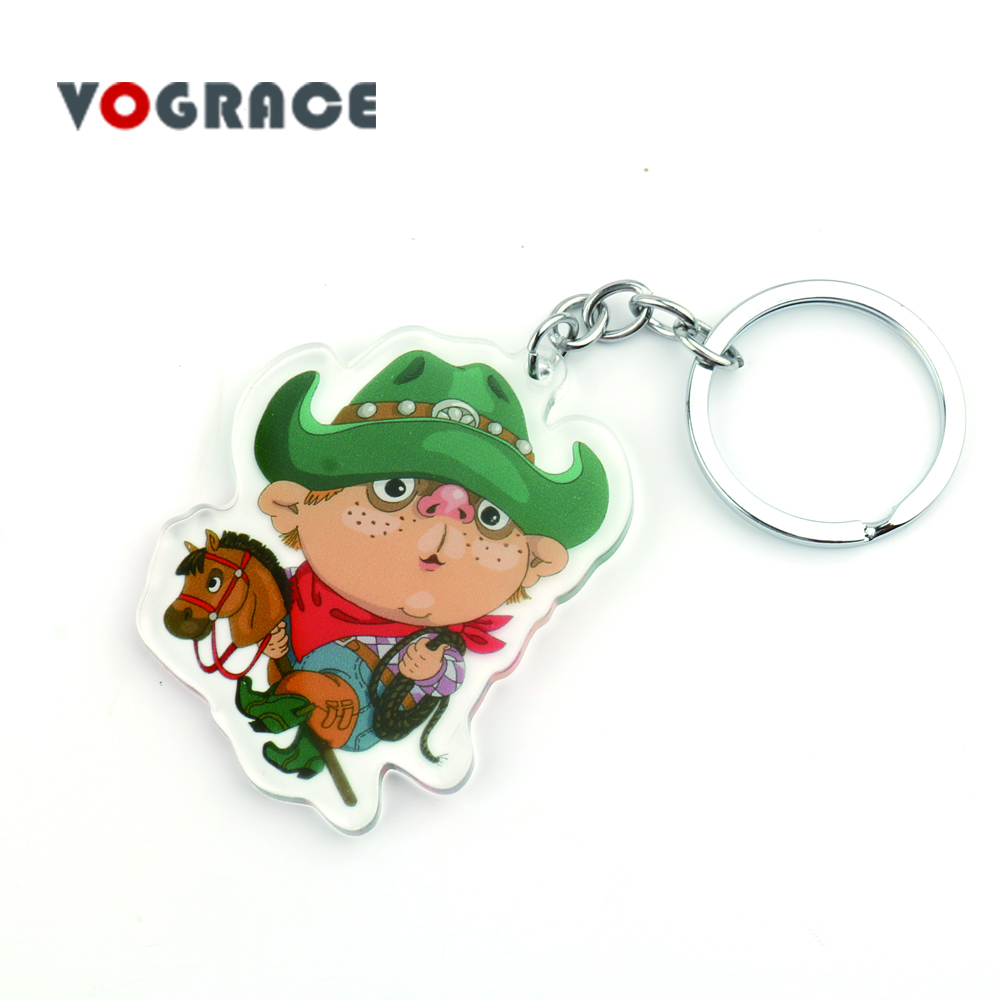 Yiwu small wholesale Vograce laser cut smooth edge custom shape print promotion personalized plastic model toy acrylic keychain