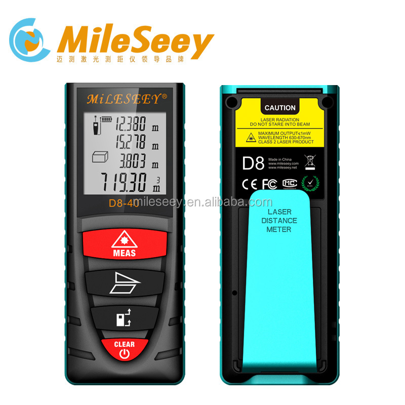 Mileseey D8 40m waterproof tape measure Handheld Laser Distance Meter mini laser rangefinder