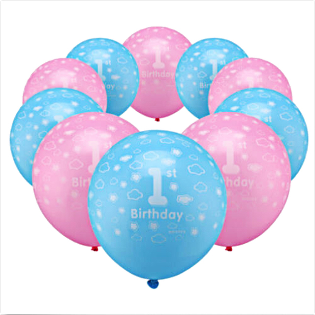 20Pcs Baby 1st First Birthday Balloons Girl Boy Printed Number 1 Ballons Pink Blue