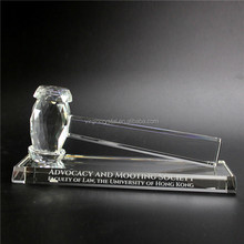 Wholesale transparent laser engraved glass crystal hammer award trophy for Law student graduation gift