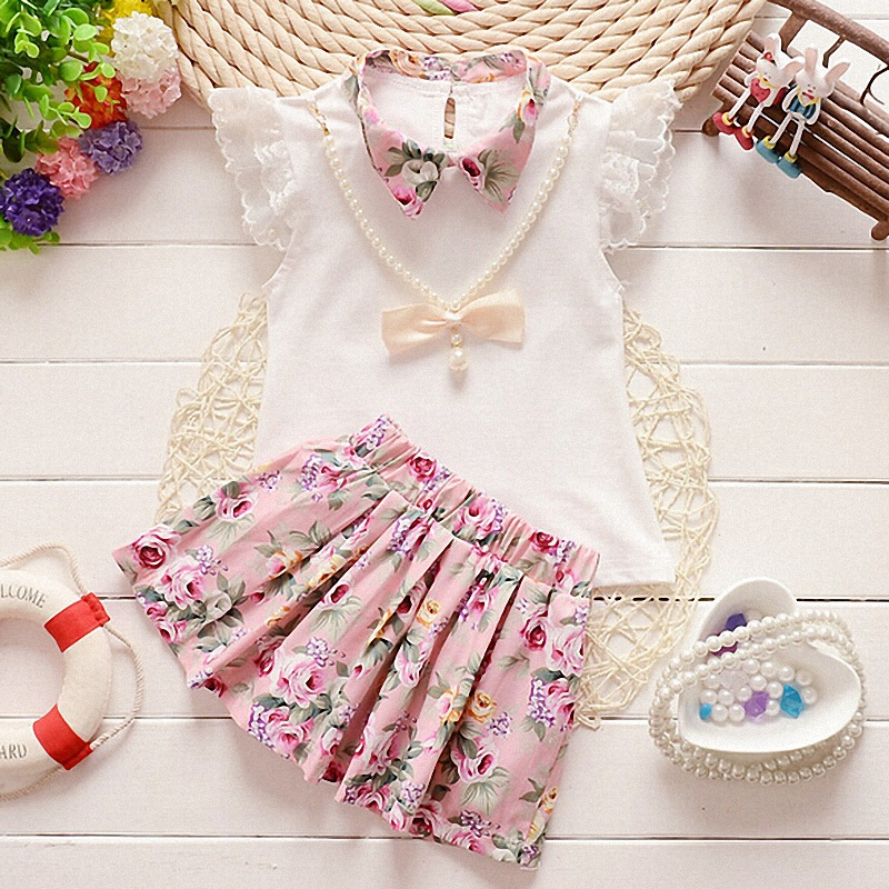 B10540A Summer Casual Girl Clothes Set , Clothing Set Suit For Baby Girls 2 pcs Chilrens Sets