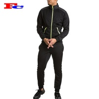 100% Polyester Black Long Sleeve Mens Sports Wear Slim Fitted Men Plain Tracksuit