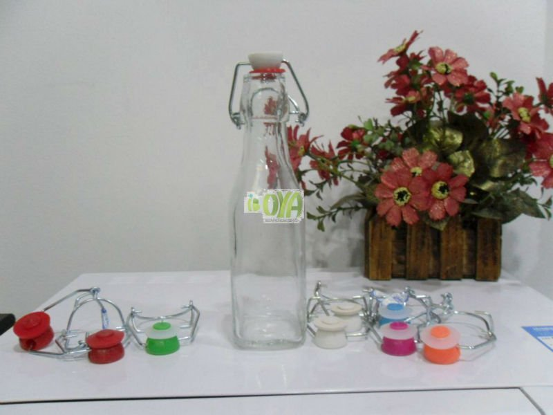 9OZ(250ml) Swing Top Round Juice Wine Bottle With Colorful Wire Bail Stopper