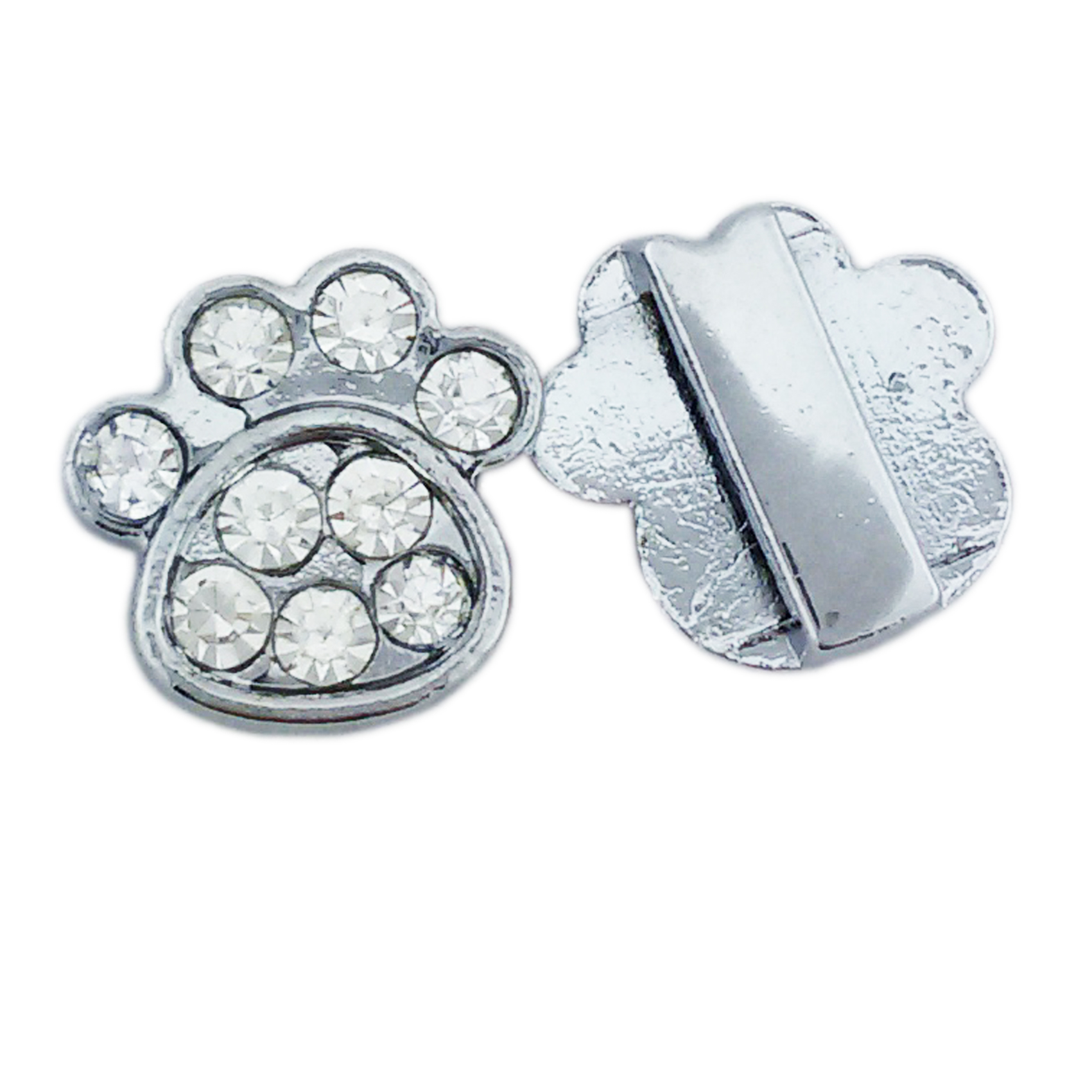 Pawprint Slide Charms Findings for Bracelet Collar Jewelry Making
