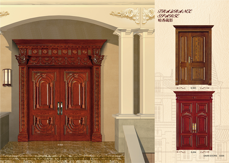 Indian main door designs home solid wooden window doors models DA-02