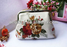 Classic white rose ladies MINI change purse,coin purse bag wallet