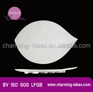 Milk White Porcelain Leaf Shape Plates Best Selling Products