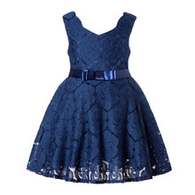 Factory price beautiful handmade lace baby girl casual hollow out kids dress collection