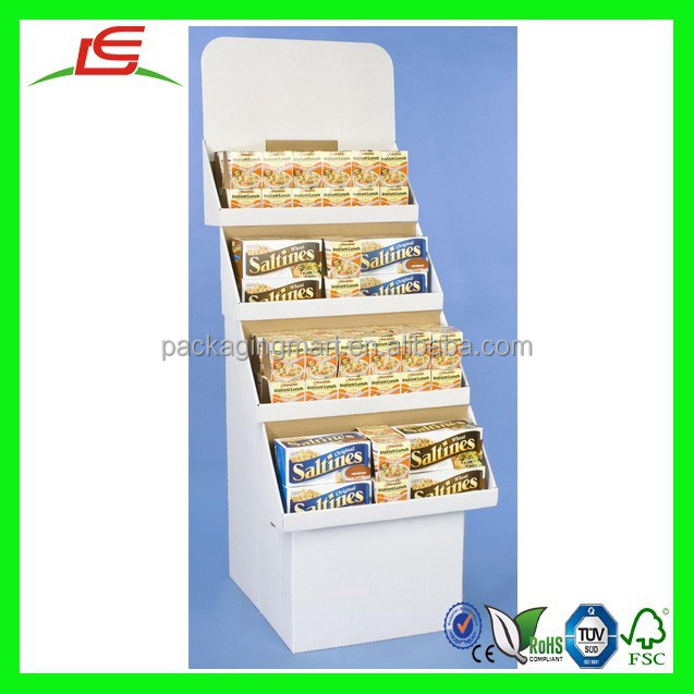 N290 Custom 4-Tier White Cardboard POP Retail Display Counter Stands For Floor with Removable Header