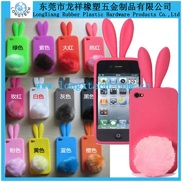 rabbit ear 3d silicone phone case,silicone decorate cell phone case