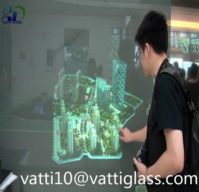 High Transmittance Holographic Glass Customizable Holographic Coated Glass 360 Degree Cabinet Phantom Glass