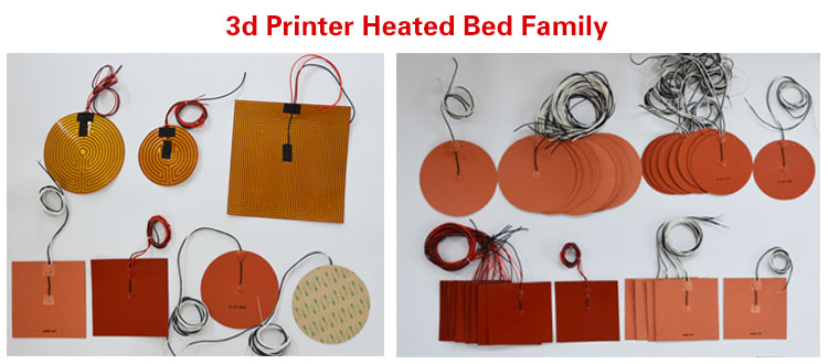 Heat Bed 3D Printer 12 volt 24 volt 110 volt 100w Heating Element 100mm x 100mm Silicone Heater