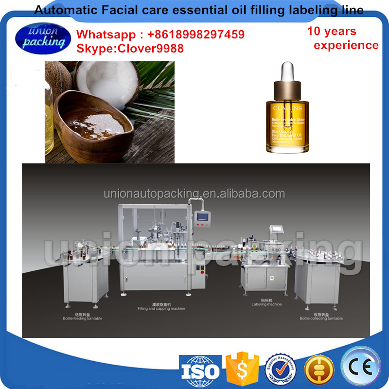 Automatic facial care essential oils filing labeling line,oil wine bottle filling machine filling capping labeling line