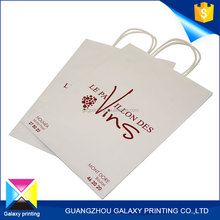 wholesale hot cheap wine gift bag craft paper tote bottle packing white bag