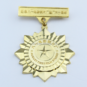 2018 gold military award medal with safety pin