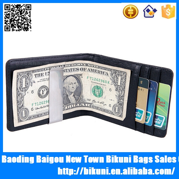 Online shooping high quality money clips card holder leather mens wallet brand