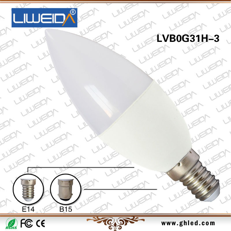 E12/E14/B15 3W e12 dimmable led candle bulb