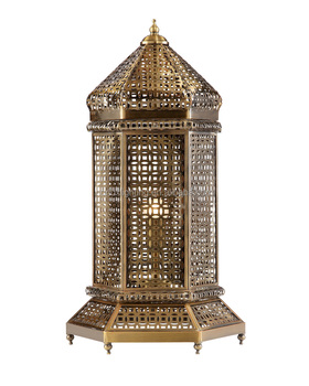 Morocco antique brass bird cage shape table lamp