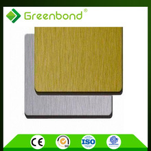 Greenbond fast delivery aluminum composite brushed silver colour acp