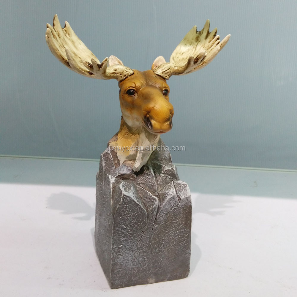 Polyresin handmade small size moose head for home decoration