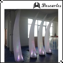 Club decoration lighted inflatable curved pillars/inflatable LED horn for wedding